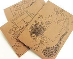 Set of 3 Fairytale Mail Art DIY Envelope Templates: Mermaid, Goldilocks + 3 Bears, Frog Prince Diy Envelope Template, Envelope Art, Envelope Design, Fish Template, Envelopes Decorados, Mail Art Envelopes, Mailing Envelopes, Snail Mail Pen Pals, Fun Mail
