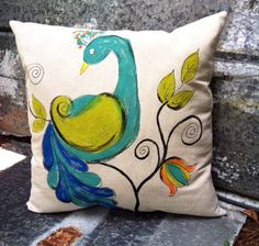 Peacock Pillow, Outdoor Cushions, Indoor, Decorative Pillows, Accent Pillows, Bird Pillows, Blue Pillows, Hand-painted, Pillow Cover by SippingIcedTea on Etsy https://www.etsy.com/listing/171150245/peacock-pillow-outdoor-cushions-indoor