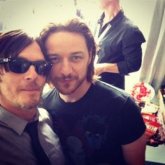 Reedus + McAvoy. How does Norman always manage to get selfies with all my other Hollywood crushes?!