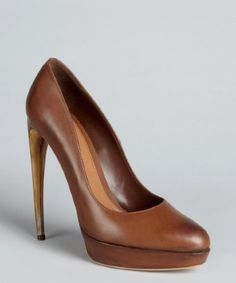 style #320410801 cigar burnished leather curved heel pumps