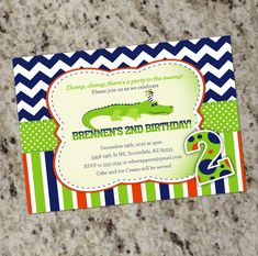 Cute Alligator themed Birthday Party Invitations for by Whirlibird, $12.99