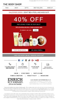 Sales Ends Soon - Don't be a fool and miss out! April Fools' Day Email from The Body Shop #EmailMarketing #Email #Marketing #Beauty #AprilFools #Sale