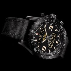 Breitling presents the Chronospace Military, a model announced as the perfect embodiment of Breitling's instruments for professionals. Breitling Superocean Heritage, Breitling Super Avenger, Army Watches, Wrist Watches, Instruments, Luxury Watches, Fine Jewelry, Military, Accessories