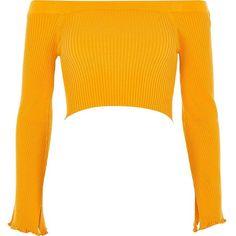 129fc35c88bc River Island Yellow rib knit bardot bell sleeve crop top ( 48) ❤ liked on