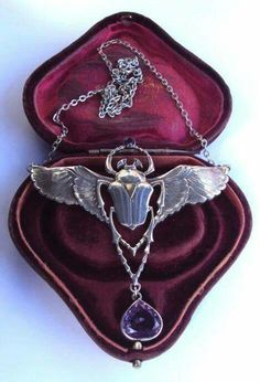 Amethyst and silver Egyptian revival scarab necklace