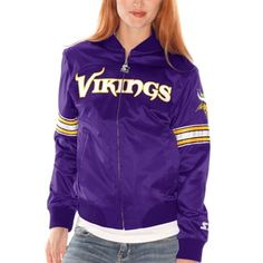 f0047cd83 Womens Minnesota Vikings Purple Starter Blitz Satin Jacket. Satin JacketsNfl  ...