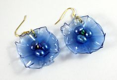 Blue Earrings Upcycled Pearl Birds Nest Ruffled by ArtePlastique