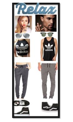 """lazy day out"" by blunted-diva on Polyvore featuring Barney Cools, Ivy Park, adidas, adidas Originals, Vans, Ray-Ban, couple and casualoutfit"
