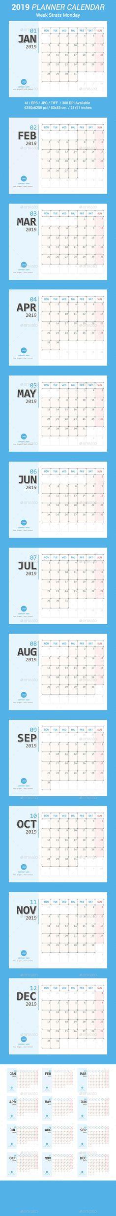 by ctrlaplus on GraphicRiver. Calendar 2019 Planner, Office Calendar, Desk Calendars, Stationery Templates, Stationery Design, Print Templates, Calendar Templates, Anime Artwork, Graphic Design