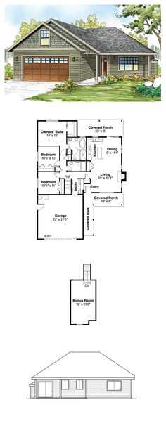 Contemporary House Plan 60900 | Total Living Area: 1369 sq. ft., 3 bedrooms & 2 bathrooms. A conversation bar fronts the kitchen's long work island, which doubles as a dining room buffet. Standing at the kitchen sink, you can keep tabs on the porch and rear yard, while staying attuned to indoor activities.  #houseplan #contemporarystyle