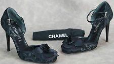 Auth. Chanel Black Camellia Pumps velvet brocade embossing  sz.36