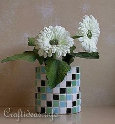 Recycling Craft - Mosaic Tin Can Flower Pot Instead of glass tiles make polymer squares