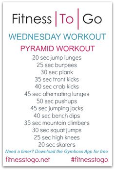 Workout Wednesday - Fitness To Go Cardio Workout Plan, Post Workout Food, Countdown Workout, Pyramid Workout, Medical Transcriptionist, Wednesday Workout, Weight Loss Smoothies, Weight Loss Program, Workout Exercises