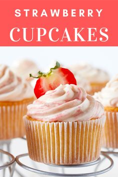 Fluffy cupcakes made with strawberry puree are topped with rich buttercream frosting for the ultimate dessert. #californiastrawberries #strawberrycupcakes #cupcakerecipe #bakingathome #vanillacupcakes #strawberrydesserts #dessertrecipe #baking #cupcakes Baking Cupcakes, Vanilla Cupcakes, Cupcake Recipes, Dessert Recipes, Strawberry Puree, Strawberry Cupcakes, Strawberry Desserts, Fluffy Cupcakes, Cupcake Calories