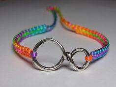 Infinity Bracelet with fluorecent  rainbow nylon by ByKarianne, kr55.00