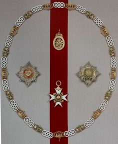 Order of the Bath, G.C.B.; broad riband and collar of a Dame Grand Cross, with badge of civil (upper) and military (lower) division, and the stars of the civil (left) and military (right) division.