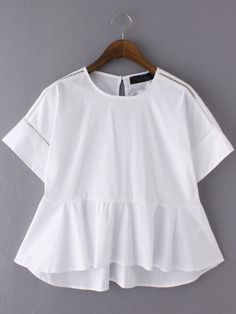 White Dip Hem Hollow Short Sleeve Blouse