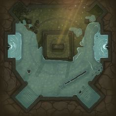 """We wanted to create a map with light as an important part. And so the idea of a """"Submerge Temple"""" was born. The DM will receive a map with which he can gradually introduce a climate of horror. Dnd World Map, Pathfinder Maps, Rpg Map, Best Rpg, D&d Dungeons And Dragons, Dungeon Maps, Star Wars Rpg, Fantasy Map, Fantasy Illustration"""