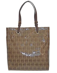 Michael Kors Jet Set Item MK Monogram Coated Canvas with Leather Straps Tote Purse Bag Handbag Work School Office Travel Laptop Ipad Beige Brown ** Read more  at the image link.
