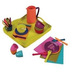 B. Toys Lets Dish  4 sets of utensils, dishes, cups and bowls for you and your whole party of pals Comes with 1 pitcher Comes with a reusable pouch for your dinnerware and attractive gift box