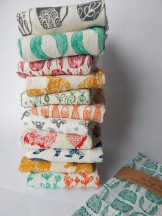 Kitchen Towels Hand Printed Kitchen Towel Sets Choose Your Set of 2 Hostess Gift Dish Towel Sets Zero Waste Gifts Housewarming Gift Handmade Kitchens, Flour Sack Towels, Cotton Towels, Dish Towels, Diy Tea Towels, Towel Set, Kitchen Towels, Diy Kitchen, Hostess Gifts
