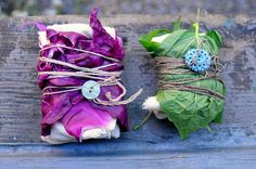 Fabric bundles for solar dyeing..wrapped in red cabbage and greens
