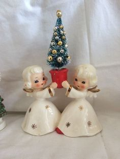 Vintage Christmas Napco Holt Howard Angel Girl Japan 1950's Set w Tree
