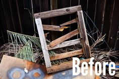 David's been meaning to do something with the broken pallet in his backyard for almost a year now. In only a few hours, it was turned from messy eyesore to rustic centerpiece. State Map, Diy Stuff, Wood Pallets, Wood Working, Apartment Ideas, Frugal, Wood Projects, Ladder Decor, Palette