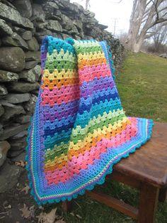 Granny Stripe Rainbow Blanket