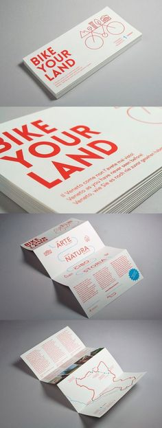 Bike Your Land, leaflet — hstudio fold brochure bicycle icon line illustration logo design sans serif typography bold red publication Leaflet Layout, Leaflet Design, Brochure Layout, Graphic Design Brochure, Brochure Template, Flyer Template, Pamphlet Design, Booklet Design, Design Templates