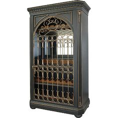 Bar & Wine Cabinet Black Iron Door Gold Leaf Locks Mahogany New