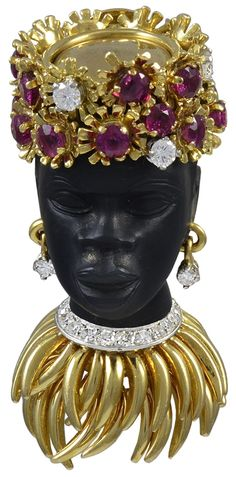 SUE BROWN - A striking Gem Encrusted Nubian Princess Brooch