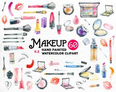 Makeup Watercolor v2. 60 Hand painted clipart diy by OctopusArtis