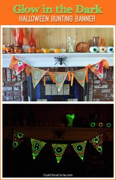 Glow in the Dark Halloween Bunting Banner | Club Chica Circle - where crafty is contagious