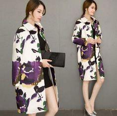 Women;S Ladies Wool Blend Lapel Floral Long Trench Coat Outwear Jacket Outwear