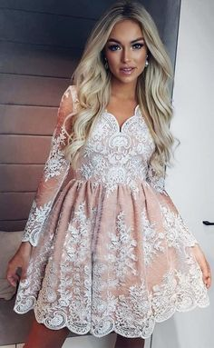 A-Line V-Neck Long Sleeves Blush Homecoming Dress with Lace