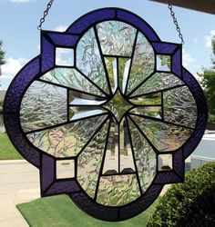 "Beveled Stained Glass Window Panel ""Majestic Cross"""