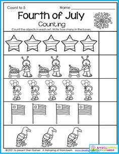 These summer worksheets for kindergarten include the Fourth of July! Lots of counting practice your kids are sure to love. :) Counting Worksheets For Kindergarten, Summer Worksheets, Graphing Worksheets, Alphabet Tracing Worksheets, Writing Lines, Upper And Lowercase Letters, Learn To Count, Business For Kids, Math Resources