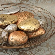 Painted gold,silver, copper leaf rocks for Thanksgiving or Christmas display