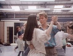 David Bowie and Jennifer Connelly rehearsing for the ballroom scene (gif set) #Labyrinth #Dancing