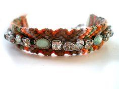 Vintage Rhinestone Friendship Bracelet, Green and Brown