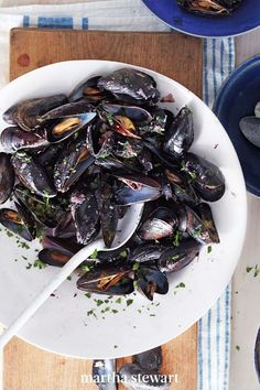 Lay the no-red-wine-with-fish myth to rest once and for all with this luscious potful of mussels steamed in fruity red wine scented with roasted garlic and fresh thyme. #marthastewart #recipes #recipeideas #seafoodrecipes #seafooddinners #seafood Fish Recipes, Seafood Recipes, Recipies, Dinner Recipes, Fruity Red Wine, Fresh Thyme, Mussels, Roasted Garlic, Entrees