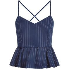 New Look Blue Pinstripe Strappy Peplum Top ($26) ❤ liked on Polyvore featuring tops, tanks, blue pattern, spaghetti-strap top, holiday party tops, peplum tops, blue peplum top and night out tops