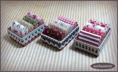 Dollhouse fabric in storage box miniature sewing by sashasstore