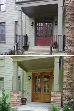 The stone bases added to these porch columns tie into the stone detail on the home's facade, and the stained wood front door complements the natural materials. What a great porch makeover! Wood Front Doors, Front Door Colors, Front Porch Pillars, Front Stairs, Front Porch Remodel, Garage Door Styles, Garage Doors, Patio Door Coverings, Stone Porches