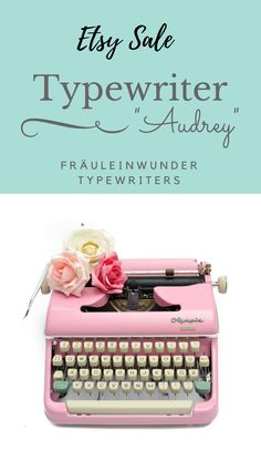 Pink Olympia typewriter from the 1950s on sale at our Etsy shop!