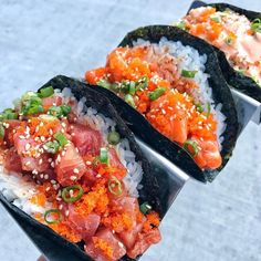 "12.8k Likes, 239 Comments - #Surfnoturf Seafood Media (@surfnoturf) on Instagram: ""Salmon, Tuna, and Shrimp Poke Tacos via @thedevouringlion"""