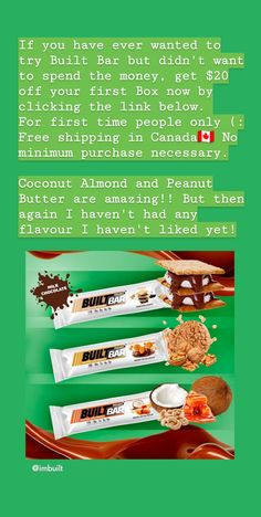 Always wanted to try Built Bar but unsure if you would like them and didn't want to spend the money on a box to find out? Well save $20 off your first purchase by clicking the link below. They are not like your typical bars either. They are just like eating a chocolate bar! So if you are interested click the link below. Free shipping in Canada and the US. You won't find a better deal and what do you have to lose? #canada #unitedstates #builtbar #coupon #20off #sogood #amazingdeal Delicious Chocolate, Chocolate Desserts, Best Tasting Protein Bars, 20 Off, How To Find Out, Coupon, Coconut, Canada, Diet