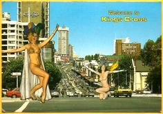 The view from the Hyde Park cnr down William street to Kings Cross ground zero, coke sign hovering. Circa 1980's.