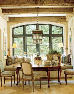 Fantastic breakfast area - beams, window, banquet, love it all!!!!